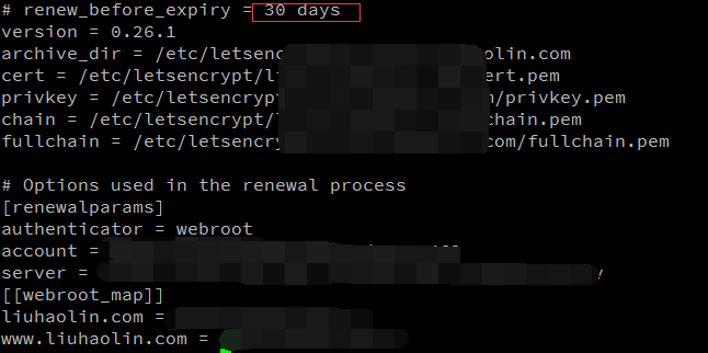 let's encrypt 证书的配置文件